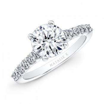 18k White Gold Elongated Shank Diamond Engagement Ring