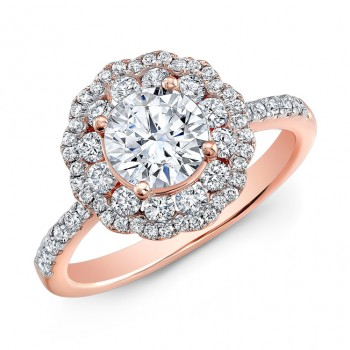 18k Rose Gold Double Halo Diamond Engagement Ring NK29672-R