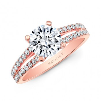 Natalie K  18K Rose Gold 2 Row Engagement Ring