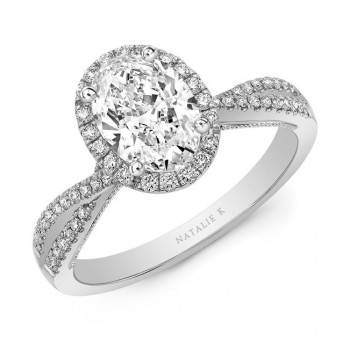 Natalie k white gold criss cross shank oval halo engagement ring