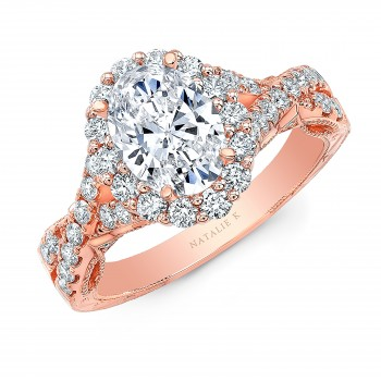 18K ROSE GOLD NATALIE K OVAL FLOWER HALO VINTAGE ENGAGEMENT RING