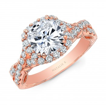 18K  ROSE GOLD NATALIE K CUSHION HALO VINTAGE ENGAGEMENT RING