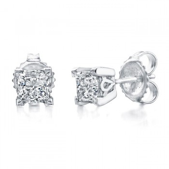 Princess Cut Diamond Stud Earrings 1/2ct Total Weight