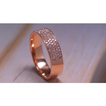 14Kt Rose Gold 4 Row Diamond Wedding Ring-Pave