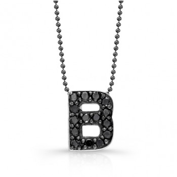 Black Diamond Initial Pendant B