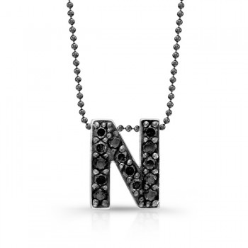 Black Diamond Initial Pendant N