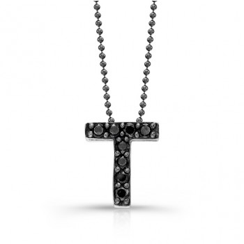 Black Diamond Initial Pendant T