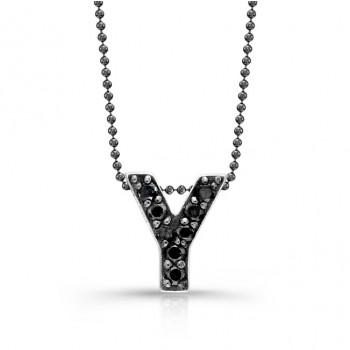 Black Diamond Initial Pendant Y