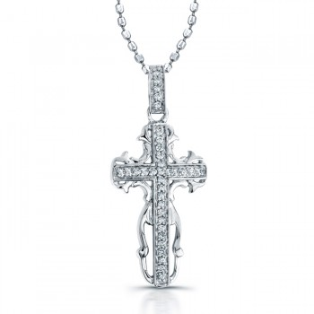 Sterling Silver Antique Diamond Cross Necklace