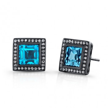 4.50CTW Square Blue Topaz Diamond Earrings
