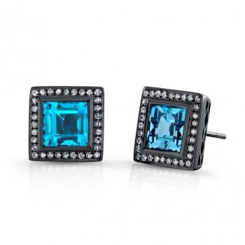 4.50CTW Square Blue Topaz Diamond Earrings