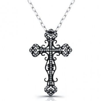 Vintage Diamond Cross Necklace, Black Rhodium 1/4CTW