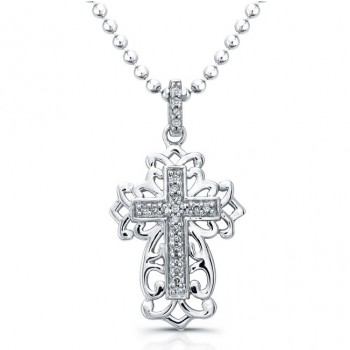 Antique Diamond Cross Necklace-Silver