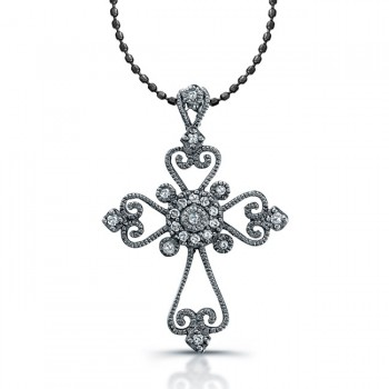 Silver Diamond Vintage Cross Black Rhodium