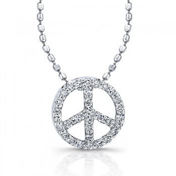 Sterling Silver Diamond Peace Sign Pendant