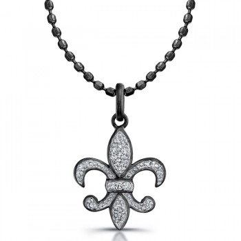 Black Sterling Silver Diamond Fleur De Lys Pendant