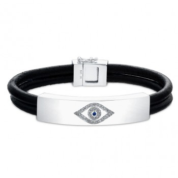 Sterling Silver Diamond Evil Eye Leather Bracelet