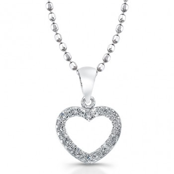 Sterling Silver Diamond Heart Pendant