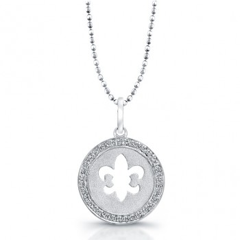 Sterling Silver Diamond Cut Out Fleur De Lys Disc Pendant