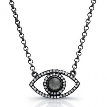 Black Silver Diamond and Moonstone Evil Eye Necklace
