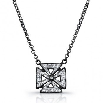 Black Sterling Silver Diamond Chopper Cross Necklace