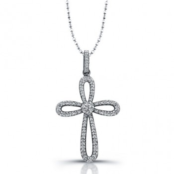 Silver Diamond Infinity Cross Pendant