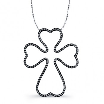 Sterling Silver Diamond Heart Cross Necklace
