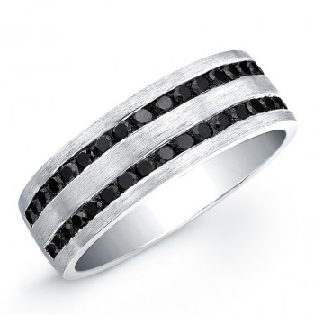 Silver Mens Black Diamond Ring