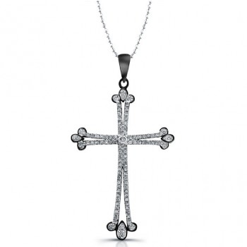 Pave Diamond Cross Necklace 3/8ct-Sterling Silver