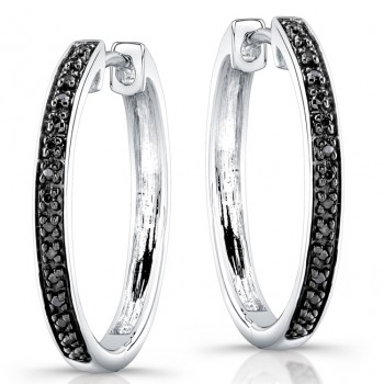 Silver Black Diamond Hoop Earrings
