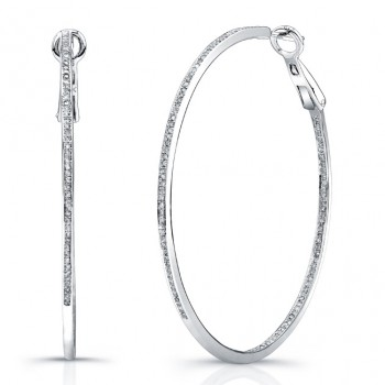 925 Silver Diamond Pave Hoops 3/4 CTW
