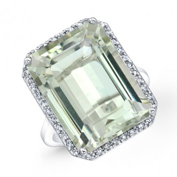 15 Carat Emerald Cut Green Amethyst Ring