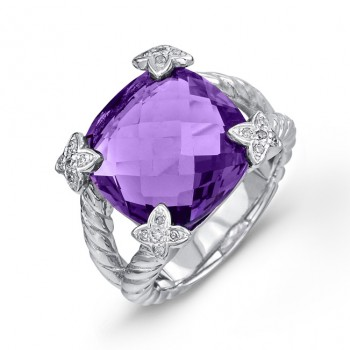 9ct Cushion Amethyst Diamond Ring
