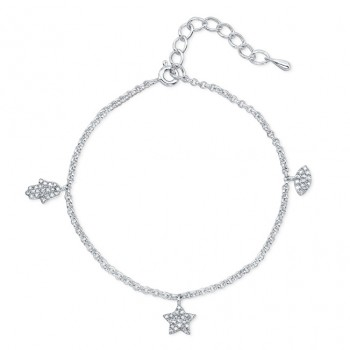 Evil Eye, Hamsa, Star Diamond Charm Bracelet