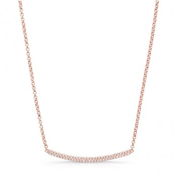 Rose Gold Plated Diamond Pave Curved Bar Necklace
