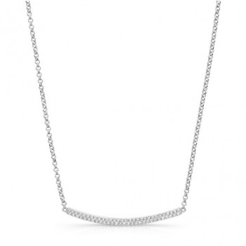 White Gold Plated Diamond Pave Curved Bar Necklace