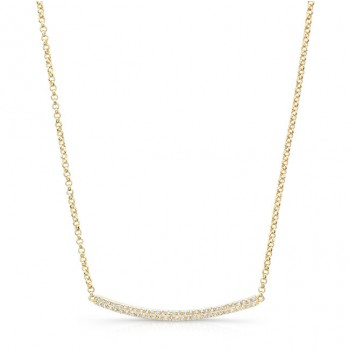 Yellow Gold Plated Diamond Pave Curved Bar Necklace