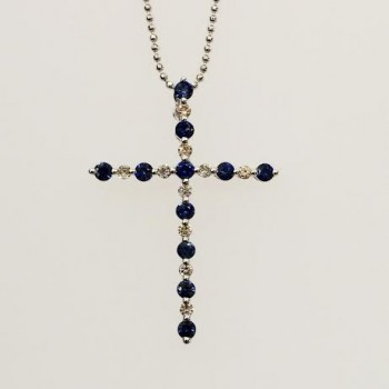 white gold Diamond and Saphire cross pendant