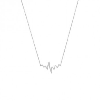 White Gold Heartbeat Necklace