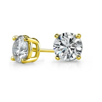 14K Yellow Gold 4 Prong Round Stud Earrings 1 1/2 ct